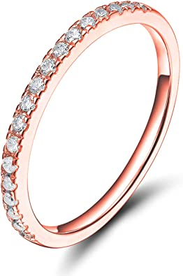 Solid 10k White Gold Diamond Half Eternity Band Stackable Ring Endless Wedding