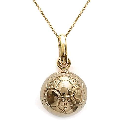 Collar de 50 cm con balón de fútbol chapado en oro 750/000 ...