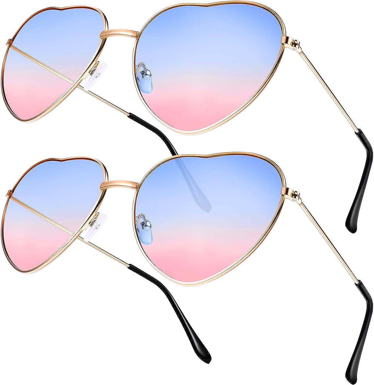 Boao 2 Pares de Gafas de Sol de Marco en Forma de Corazón en Estilo Hippy para Accesorio de Disfraz de Hippie, Marco Dorado Rosa (Lente Azul a Rosa Gradiente): Amazon.es: Ropa