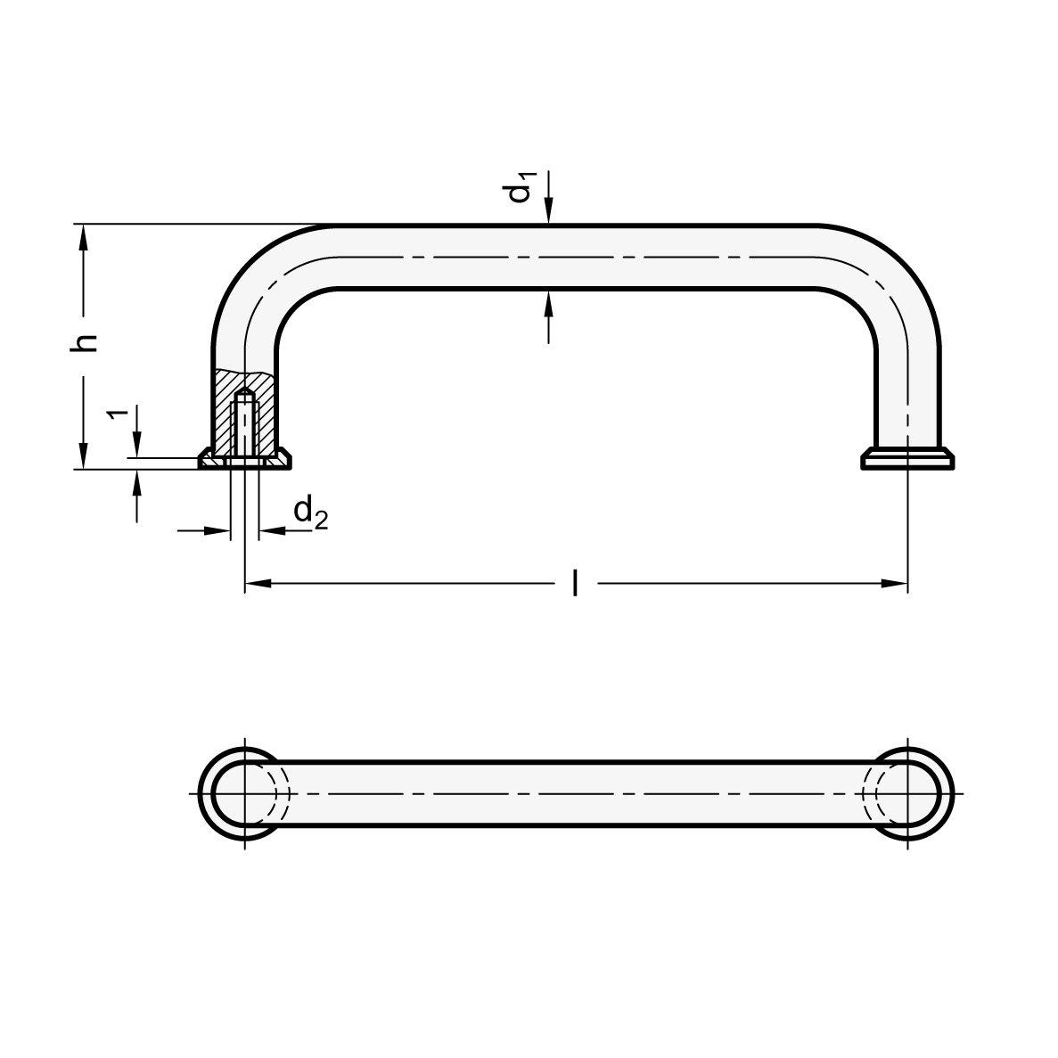 silber L/änge l Ganter Normelemente GN 425-10-100-CR 425-10-100-CR-B/ügelgriffe 100mm 2 St/ück