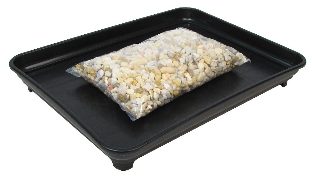 Eve's Bonsai Humidity Drip Tray 9' x 12' with Pebbles Overall size 9' x 12' to fit a 8' x 11' on the bottom of the pot Eve' s Garden Inc 70043