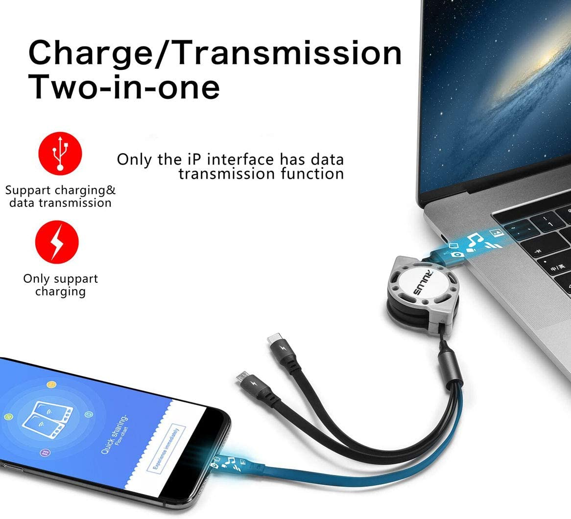 Rush Round Three-in-One USB Data Cable Fast Multi Charging Cable for Phone,Android,Tpye-C Universal Interface Mobile Phones and Tablets