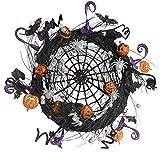 21 Inch Sparkled Spider Web Halloween Wreath - Black, Orange, Silver and Purple