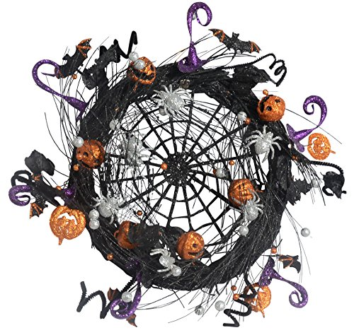 21 Inch Sparkled Spider Web Halloween Wreath - Black, Orange, Silver and (Halloween Vine Bats)