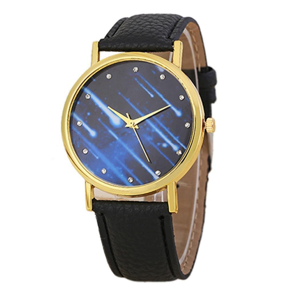 Mandy 2016 Leather Band Analog Quartz Wrist Watch Black