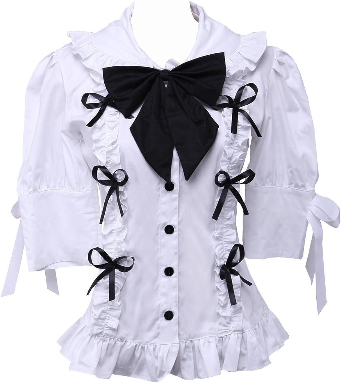 an*tai*na* Blanca Algodón Volantes Encaje Bow Tie Kawaii Victoriana Lolita Camisa Blusa de Mujer: Amazon.es: Ropa y accesorios