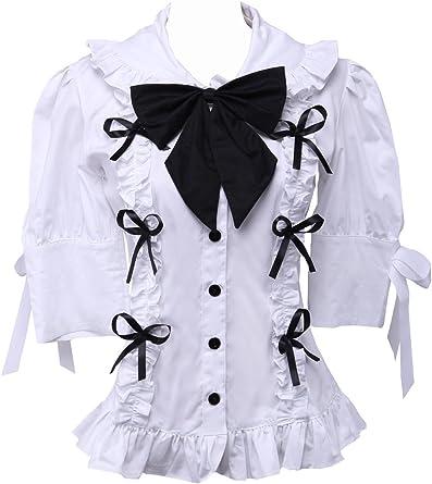 Blanca Algodón Volantes Encaje Bow Tie Kawaii Victoriana ...