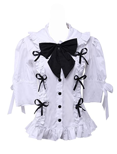 e609f157e77 an*tai*na* Blanca Algodón Volantes Encaje Bow Tie Kawaii Victoriana Lolita  Camisa Blusa de Mujer: Amazon.es: Ropa y accesorios