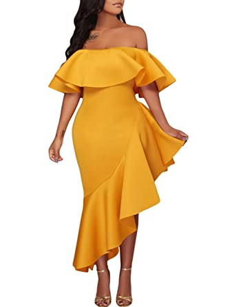d52830ca0984 Milliwin Women Yellow Asymmetric Ruffle Off Shoulder Party Dress Bodycon  Midi Dress at Amazon Women s Clothing store