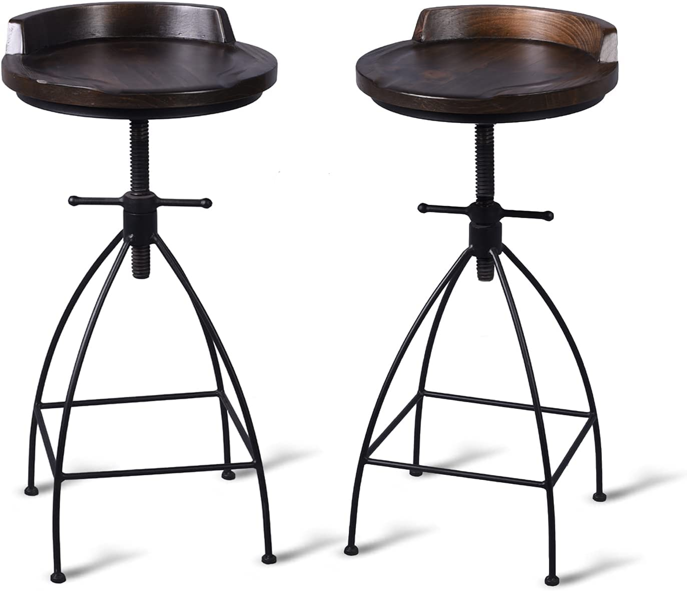 Diwhy Industrial Vintage Rustic Bar Stool,Wooden Top Stool Kitchen Counter Height Adjustable,Iron Stoo,Swivel Stool,24 Inch,Low Backrest,Hump Surface,Fully Welded Set of 2 (Walnut Color Wooden Top)
