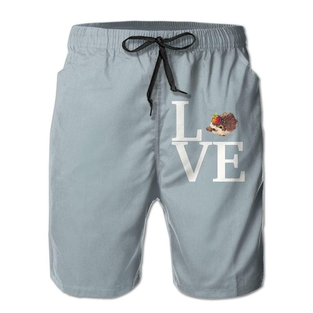 YOIGNG Boardshorts I Love Hedgehogs Mens Quick Dry Swim Trunks Beach Shorts