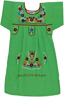 df95f7e9e0d50 Mexican Clothing Co Little Girls Mexican Dress Traditional Tehuacan Poplin