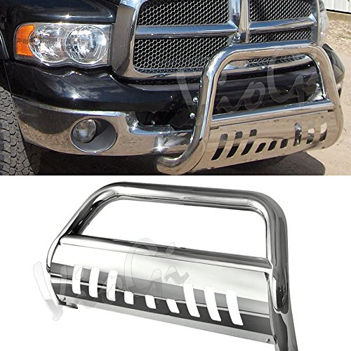 Audrfi Fit 06-08 Ram 1500 Chrome S/S Bull Bar Front Fit Bumper Grille Guard w/ Skid Plate