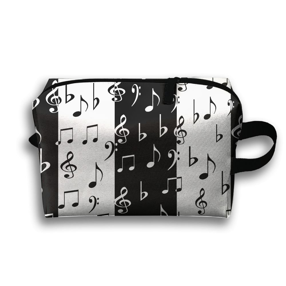 67823e539709 GNMB Black And White Music Notes Portable Receiving Bag Make-up Travel Bag  Multi-