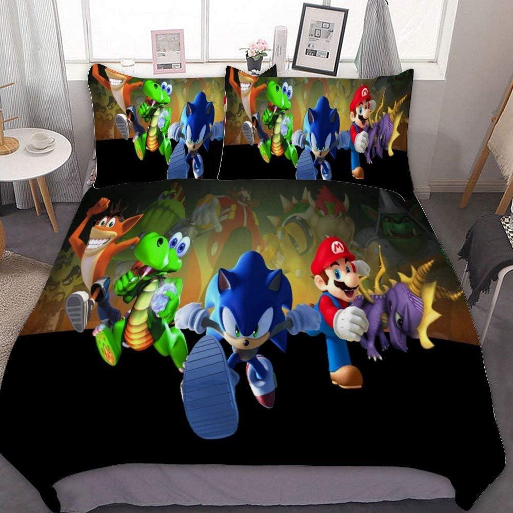 Harvey Rhodes Super Mario Sonic The Hedgehog Crash Bandicoot Spyro,Comforter Set Full,3 Piece Bed Sets,Ultra Soft Microfiber Unisex Bedding Set Modern Pattern Printed