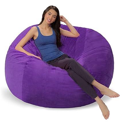 Terrific Comfy Sacks 5 Ft Memory Foam Bean Bag Chair Purple Furry Machost Co Dining Chair Design Ideas Machostcouk