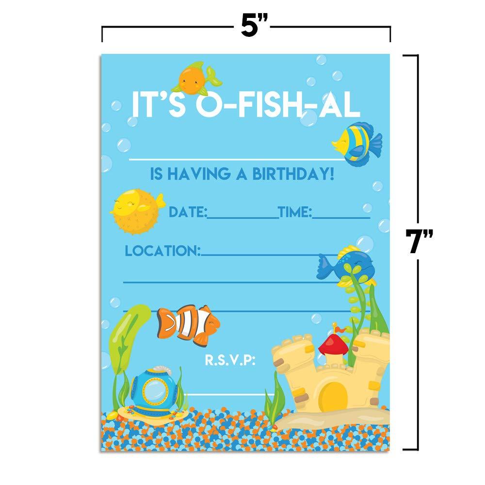 Amazon Com Aquarium Full Of Fish Birthday Party Invitations 20 5