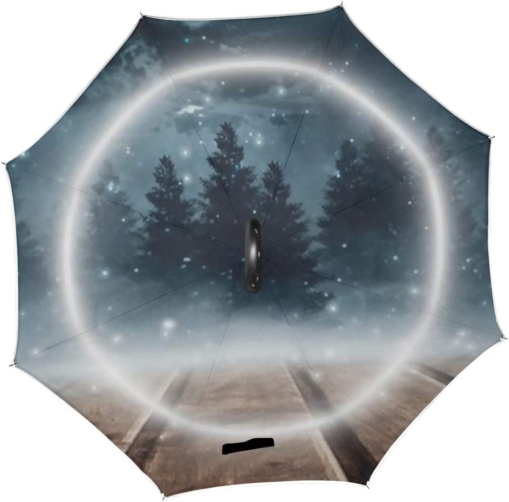 Double Layer Inverted Inverted Umbrella Is Light And Sturdy Dark Forest Gloomy Scene Trees Big Reverse Umbrella And Windproof Umbrella Edge Night Ref