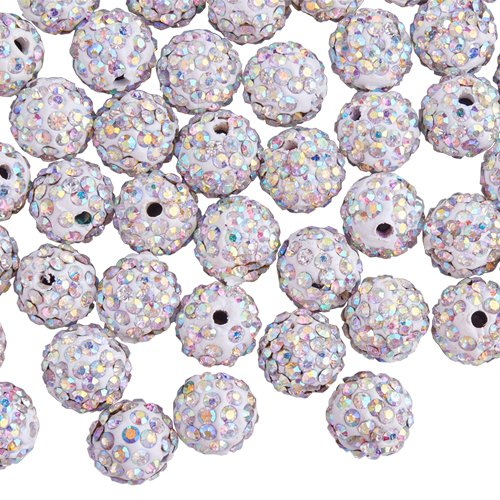 PandaHall Elite 1Box 10mm 100pcs Disco Ball Clay Beads Crystal AB White Pave Rhinestones Spacer Round Beads fit Shamballa Bracelet Crystal Shamballa String Bracelet
