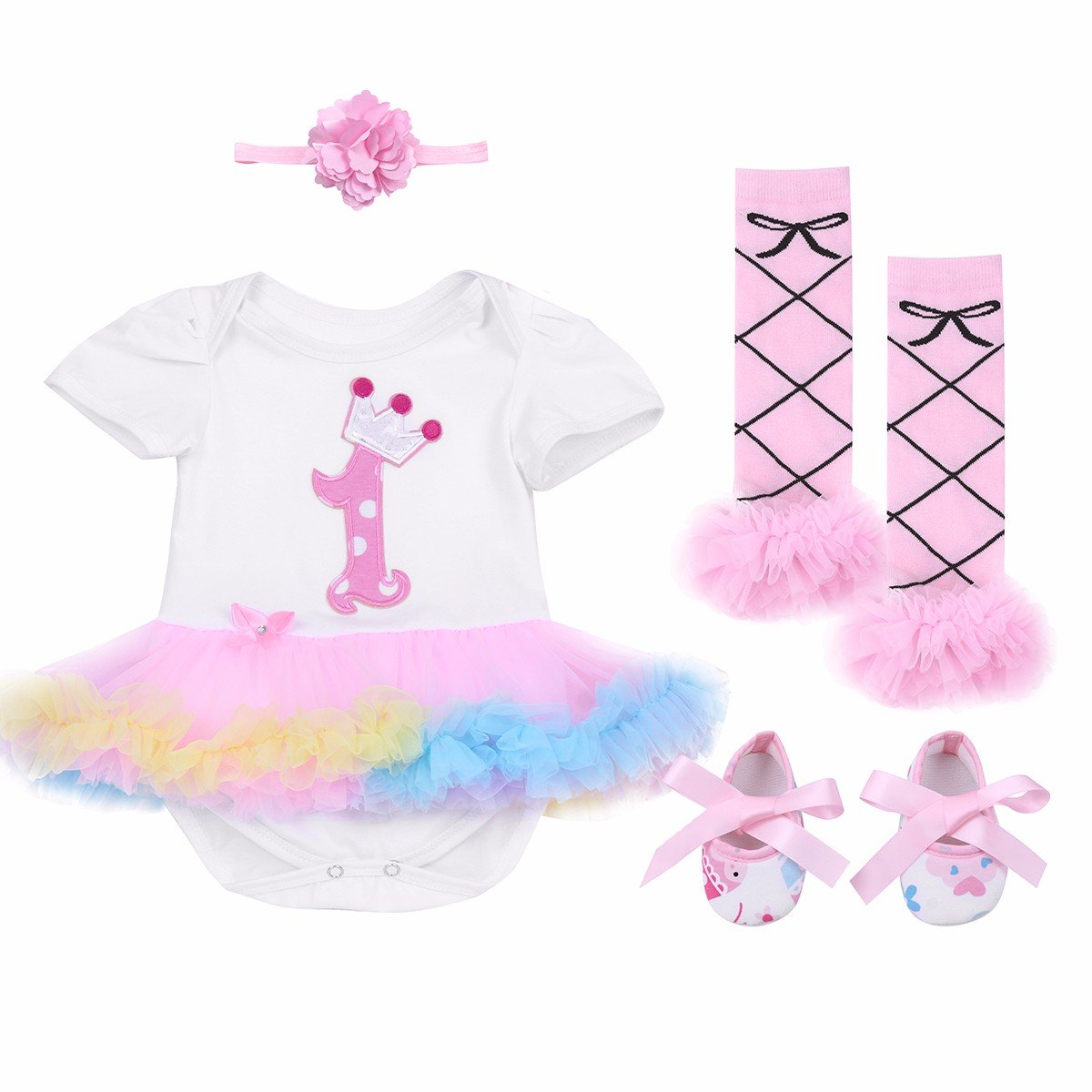 FEESHOW Baby Girl First Birthday Outfits Romper Tutu Skirt Headband Leg Warmer Shoes Set