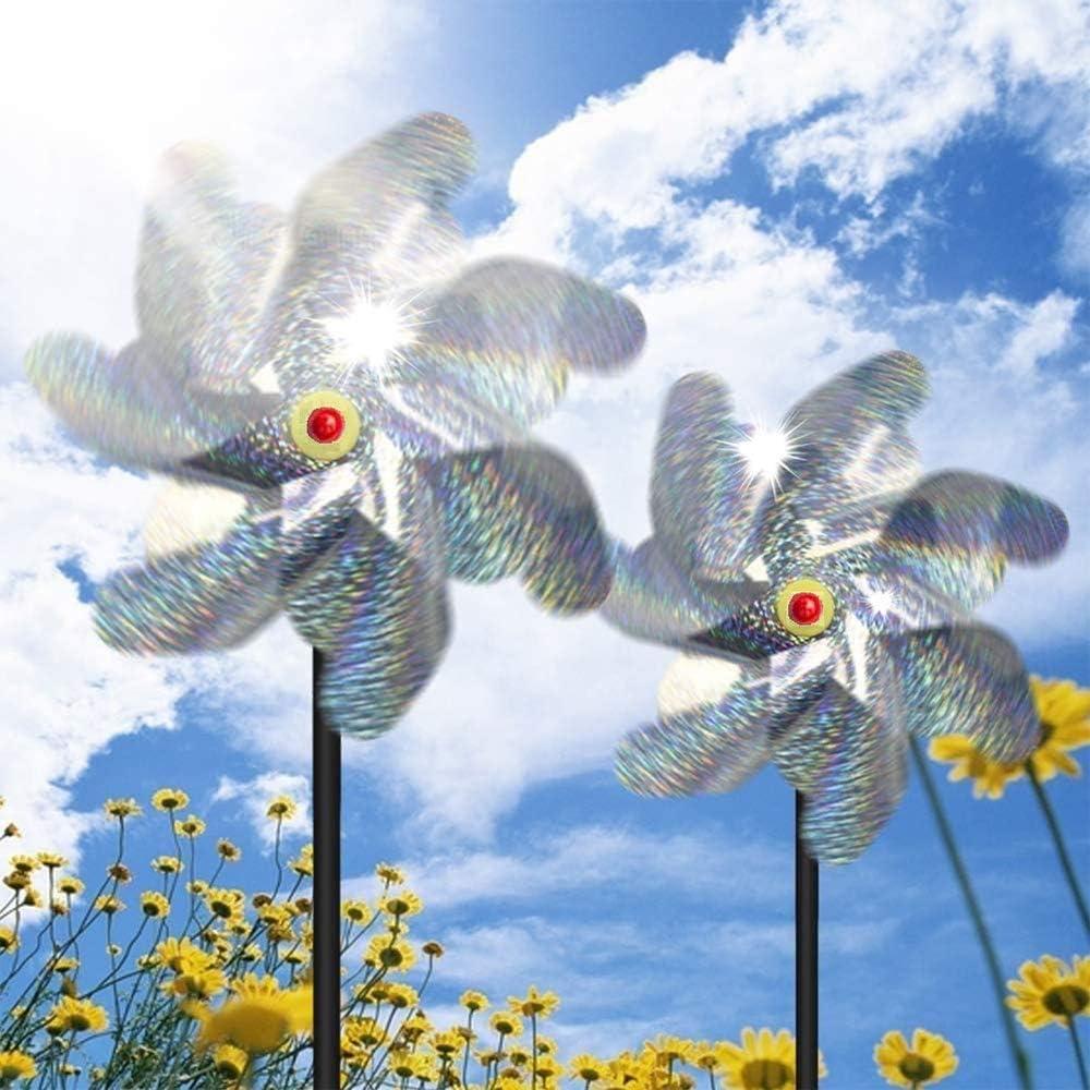 Yous Auto 10 Piezas Repelente de P/ájaros Molino de Viento Repelente de Aves Molinillos de Alta Reflexi/ón Espantap/ájaros Control Reflectante para Proteger Jard/ín Huerto Patio
