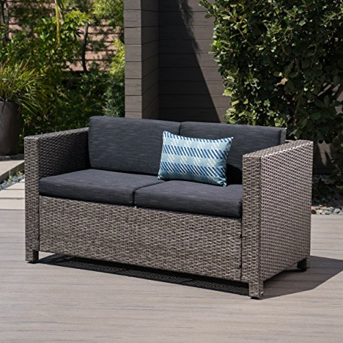 Great Deal Furniture Lorelei Outdoor Wicker Loveseat with Cushions, Grey and Mixed Black
