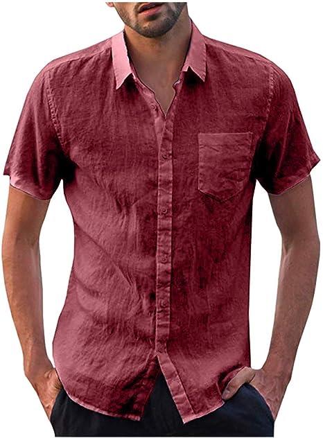 Wawer x10E6 Camisa de Cuello Alto con Botones en la Espalda para Hombre, Camiseta de Moda para Hombre, Camisa de Manga Corta para Verano y Camisa, de algodón y Lino, para Hombre,