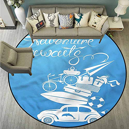 Living Room Round Mat,Adventure,Summer Holiday Icons,for Outdoor and Indoor,4'7
