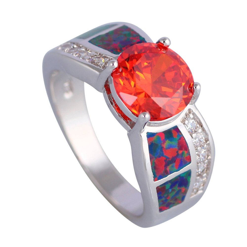 Rny Jewelry Garnet Red Opal Rings Fashion Vintage Jewelry For Women Wedding Rings