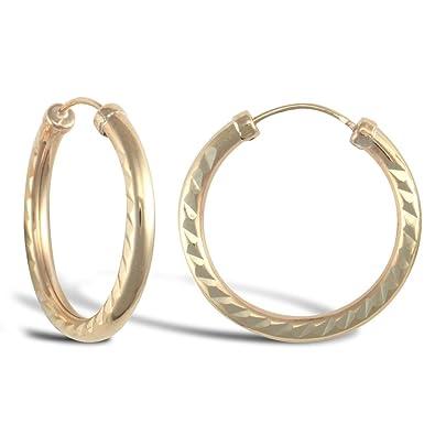 9ct Yellow Gold 20MM Sleeper Earrings dEmH8Ec