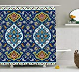 """shower tile designs Ambesonne Moroccan Shower Curtain, Oriental Motif with Vintage Byzantine Style Tile Effects Artwork, Cloth Fabric Bathroom Decor Set with Hooks, 75"""" Long, Mustard Royal Blue"""