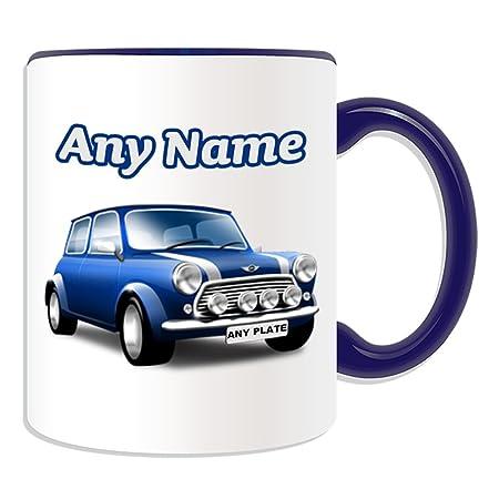 Personalised Gift - Blue Mini Cooper Mug (Transport Design Theme ...