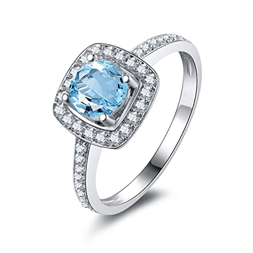 AMDXD Jewelry 925 Sterling Silver Bands Girls Blue Round Cut Topaz Round Rings
