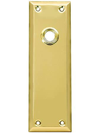 Stamped Brass New York Door Plate Without Keyhole In Polished Brass.  Vintage Door Knob Backplates.   Door Lock Replacement Parts   Amazon.com