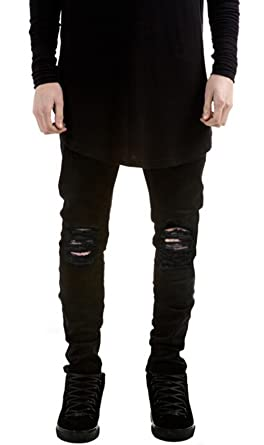 c01616f8 Image Unavailable. Image not available for. Color: Sarriben Mens Slim Fit  Jean Knee Ripped Skinny Denim Casual Stylish Jean Pant