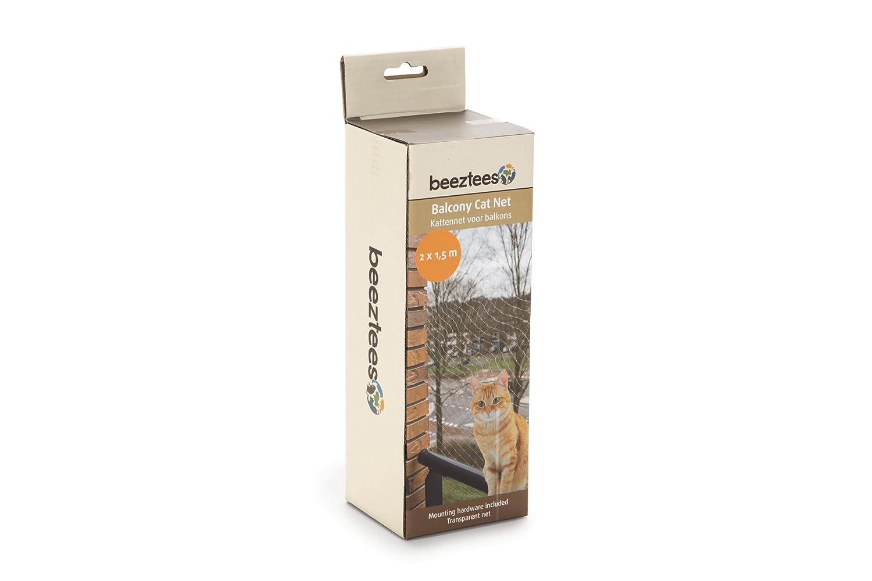 Red de protección para gatos para balcones de Beeztees. Completa, transparente, malla de tamaño 3 x 3 cm. Incluye material de fijación: Amazon.es: Productos ...