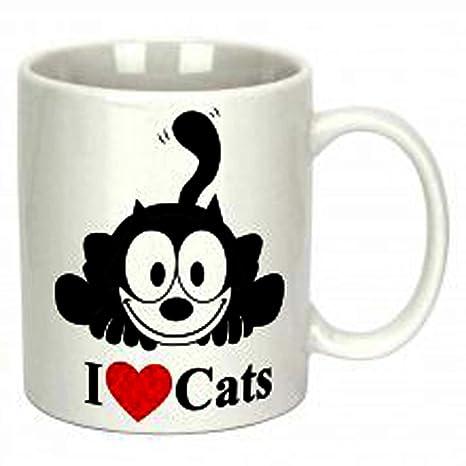 """El gato Felix """"I Love de gatos"""" taza ..."""
