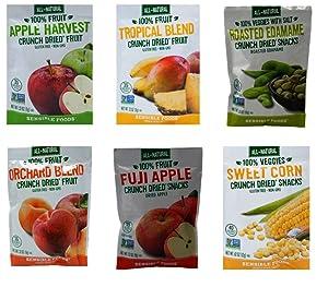 Sensible Foods All-Natural Gluten Free Vegan Non-GMO Crunch Dried Fruit Snacks 6 Flavor Sampler Bundle, 1 each: Apple Harvest, Tropical Blend, Roasted Edamame, Orchard Blend, Fuji Apple, Sweet Corn