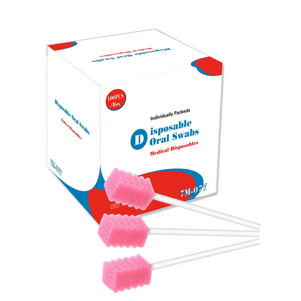 100Pcs Disposable Sponge Swab for Oral Clinic Cleaning Use (Tooth Pink)