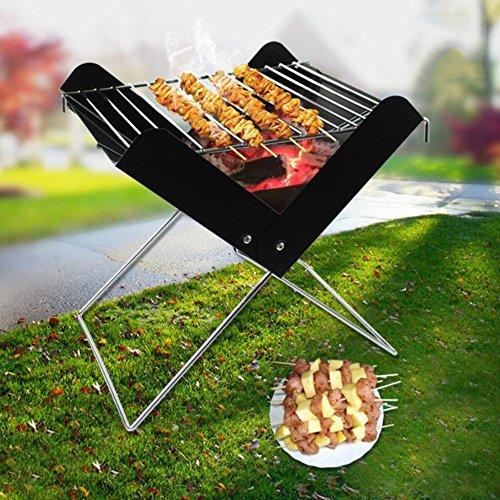 Portátil Plegable Barbacoa de carbón Ahumador BBQ, ZZ-aini Camping Picnic Party Aire libre Barbecue-A 29*27*30cm