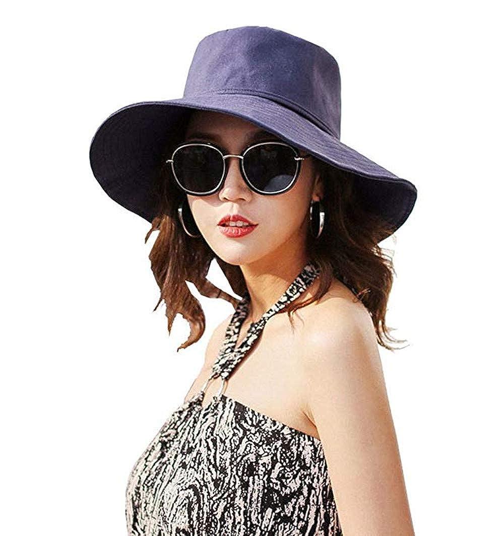 Bhwin Womens Sun Hat UPF 50 Beach Garden Hat Foldable Cotton Wide Brim
