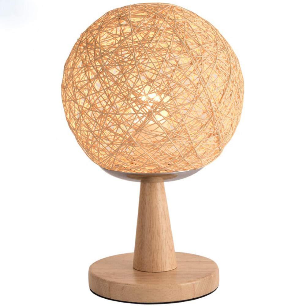 lámpara escritorio Lámpara de mesa de cáñamo lámpara de mesita de ...