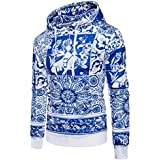 Ninasill Mens Autumn And Winter Retro Print Hoodie Hooded Sweatshirt Tops Jacket Coat Outwear (XL, white)