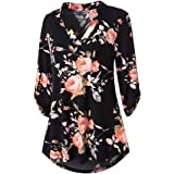 Womens Floral Printed Tunic Shirts 3/4 Roll Sleeve Notch Neck Casual Tunic Top, Fashion Style for Ladies and Girl