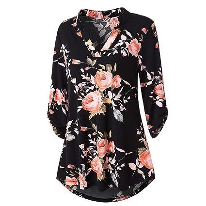 Niña otoño fashion carnaval,Sonnena ❤ Blusa estampada floral de manga larga para mujer