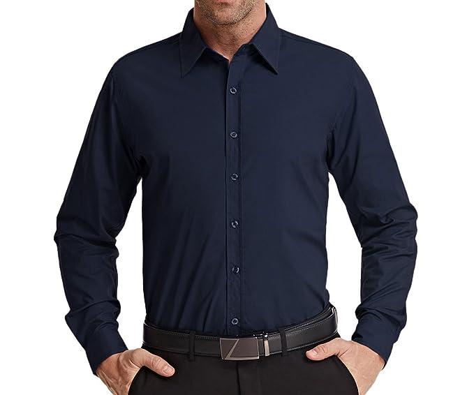21eab496c3c8f JACK SMITH Men s Stylish Solid Long Sleeve Button Down Dress Shirt Office  Shirt