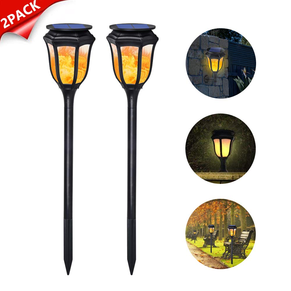 Dr. Prepare Solar Lights Outdoor Decorative Waterproof Landscape Flickering Flames Torches Lights 96 LED Motion Sensor Spotlights Wall Lamp for Garden Patio Pathway Walkway Decoration - 2 Pack