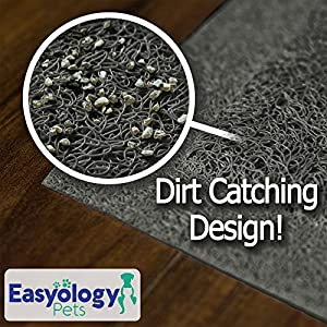 "Easyology Extra Large 35"" x 23"" Cat Litter Mat, Traps Messes, Easy Clean, Durable, Non Toxic - LIGHT GREY"