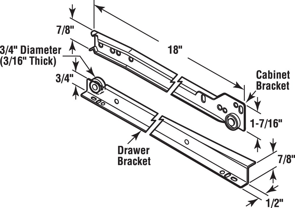 "Fits Most Bottom// Side-Mounted Drawer Systems Prime-Line R 7212 Drawer Slide Kit Replace Drawer Track Hardware 19-3//4/"" Steel Tracks 2 LH, 2 RH Self-Closing Design Plastic Wheels White 1 Pair"
