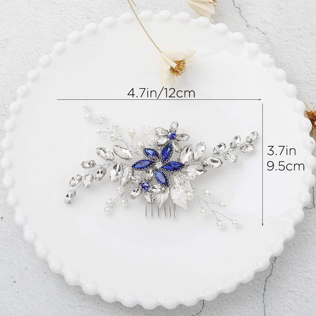 Olbye Wedding Hair Comb Blue Rhinestone Bridal Hair Accessories for Bride and Bridesmaids Wedding Hair Piece Silver by Olbye (Image #2)